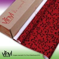 Sonja' Design Floral Red/Black Sticky Vinyl (380-0032) 45cm x 2m